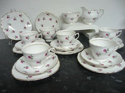 COLCLOUGH 'Fragrance' English BONE CHINA 20-piece TEA SET Pink Ditsy Rose 7433