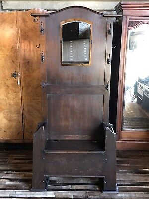 Large Seated Arts And Crafts Mirror Hall Stand