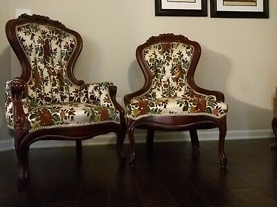 vintage victorian floral rose carved king and queen chair
