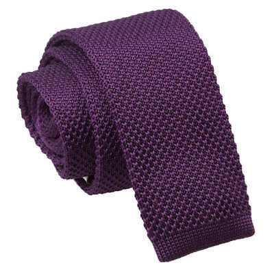 DQT Knit Knitted Plain Solid Cadbury Purple Casual Mens Skinny Tie