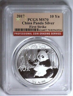 2017 Silver Panda 10Y CHINA ~ Red Flag Label First Strike PCGS MS70 #TH1
