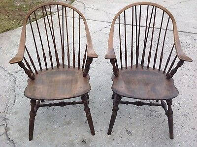 Antique/Vintage Windsor Bow Back Walnut Chairs (Pair)