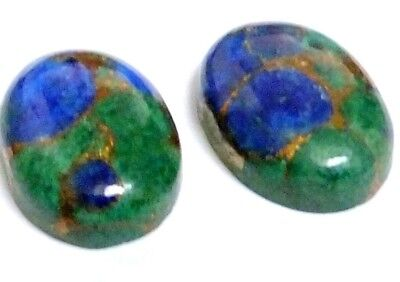 NATURAL AZURITE COPPER MOHAVE GEMSTONES OVAL CABOCHON MATCHING PAIR 14 x 10 mm