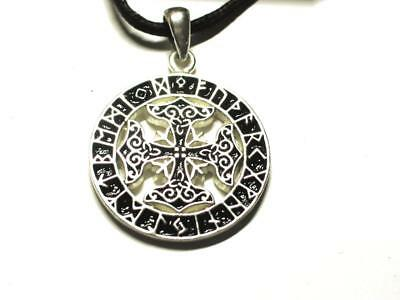 Viking Futhark Cross Rune Pendant, intuition and assists right decisions.