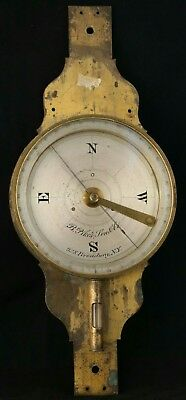 Mid 1800's Antique Brass Surveyors Compass with Level. B Pike's Son New York