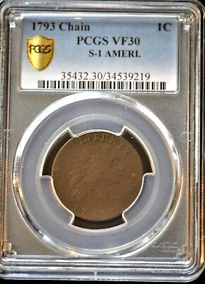 1793 1C Large Cent Ameri Chain Cent S-1 R4 Ngc Graded Vf35