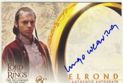 Hugo Weaving as Elrond 2001 Topps Lord of the Rings LOTR Autograph Card Auto