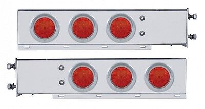 """Stainless Steel Mud Flap Hanger w/ Red (7) LED Lights Spring Loaded (PAIR)  2.5"""""""