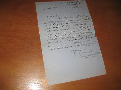 Artist Dame Laura Knight Signed Autograph Letter (Als) 1931 Cornwall Vg