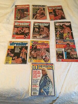 Lot of (10) Vintage 1980's Wrestling  Magazine Issues