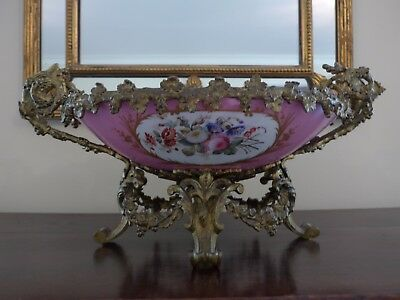 Large and Magnificent - Antique 19th C Sevres Style French Ormolu Bowl / Dish