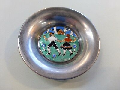 Thune .925 Sterling Silver dish Enamel Scandinvian Norway Children dish