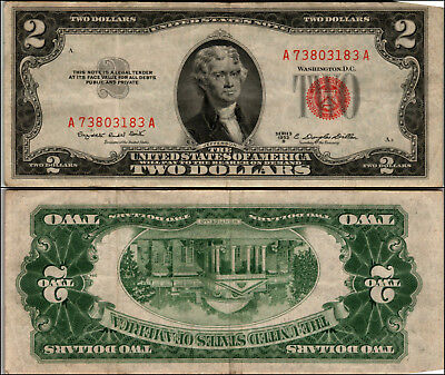 1953B $2 Dollar Bill Us Note Legal Tender Paper Money Currency Red Seal J940