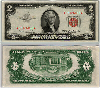 1953B $2 Dollar Bill Us Note Legal Tender Paper Money Currency Red Seal J941