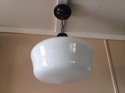 Vintage Large Milk Glass Pendant School House Light 1930s Industrial Art Deco