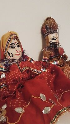 Male & Female Indian Puppets. Beautiful Design In Good Condition. NO RESERVE !
