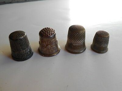 Antique Vintage Lot 4 Sterling & Silver Thimbles Sewing Notions Mfyico