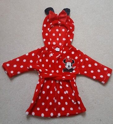 DISNEY BABY baby Girl Minnie Mouse Dressing - Gown Bathrobe Size: 6 - 9 months
