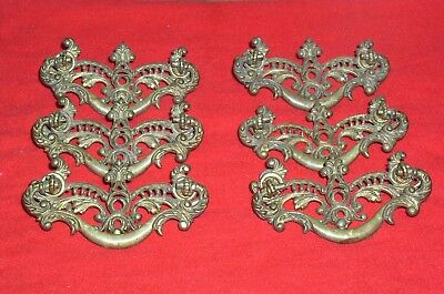 Vintage KB Co. Brass Dresser Drawer 1031 Ornate Hardware Pulls Handles set of 6