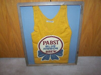 VINTAGE PABST BLUE RIBBON BREW Beer Patch Sign BASKETBALL JERSEY PBR PROHIBITION