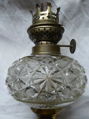 Victorian cut glass peg oil lamp