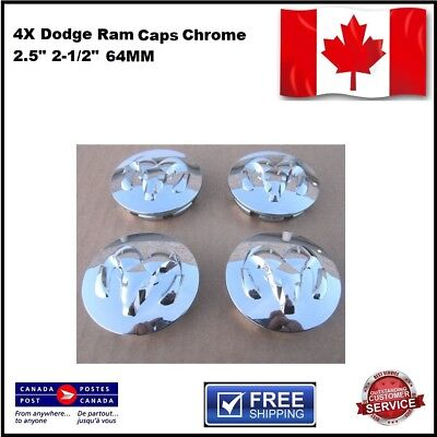 "Dodge Center Caps Set 4 Cap 2.5"" 2-1/2"" 64mm Chrome wheel rim Ram 1500"