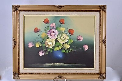 Gilt Framed Impressionist Flowers Still Life Study Oil Painting