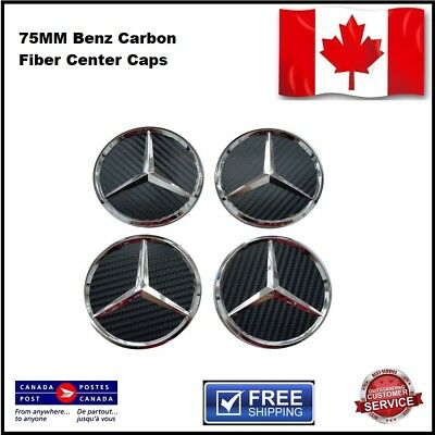4X Mercedes Benz Wheel Center Caps Carbon Fiber Black & Silver Piano Black 75MM