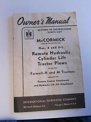 """Nos 8 & 8-L McCormick-Deering """"Remote Hydraulic Cylinder Lift"""" Owner's Manual IH"""