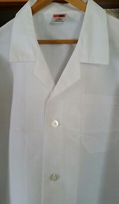 LOT OF 2 White Lab Coat Large Long Port Authority Nurse Women Men Medical Scrub
