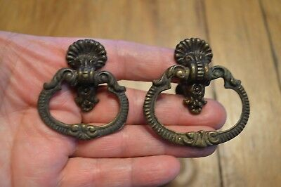 Lot Of 2 Vintage Antique Ornate Drawer Pull Handles,brass?,2 Sizes