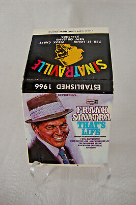 "Vintage SINATRAVILLE Frank Sinatra ""That's Life"" Matchbook, Front Strike, Un-Use"