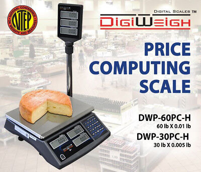 DWP-60PC-H 60 Lbs Price Computing Scale With Pole Display NTEP Legal For Trade