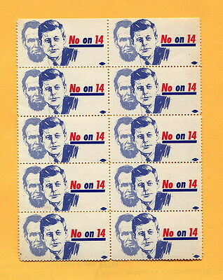 1964  Anti PROPOSITION 14   CIVIL RIGHTS   HOUSING DISCRIMINATION Protest Stamps