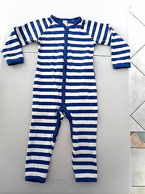 Long sleeve no feet Bonds one-piece romper boys size 2 mid blue & white stripes