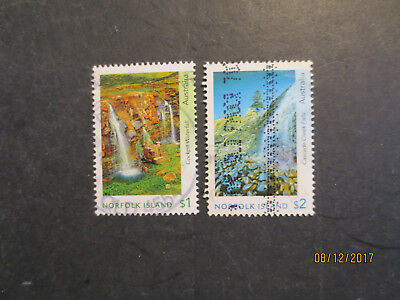No--3---2017   NORFOLK  ISLAND  WATER FALL   -2 STAMPS  --F/S   -USED