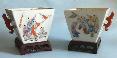 Antique Chinese Square Bowls With Wood Stands Qianlong Marks Boys Playing