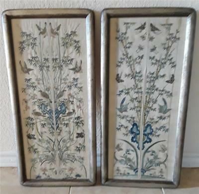 Antique Chinese Silk Embroidery Sleeves Birds Butterflies Framed