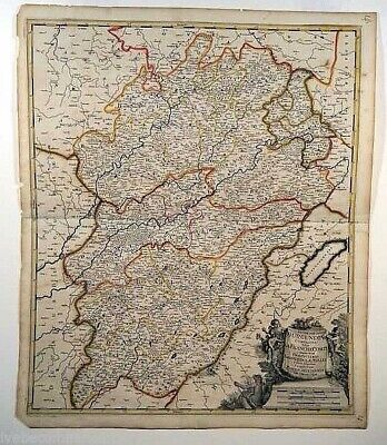 Antique Engraved Map Of France Comte 1703 Early Dutch Map By Valk