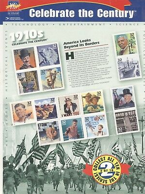 USPS Sheet of 15 Stamps Celebrate the Century 1910s History Pane MNH 1998 3183