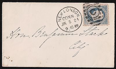 USA 1884 New London Connecticut Cover. VF