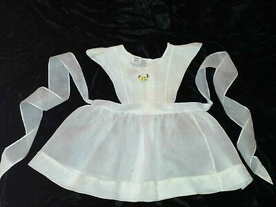 Vintage Baby Toddler Dress Pinafore Sheer White Yellow Roses & Lace 2T  #10