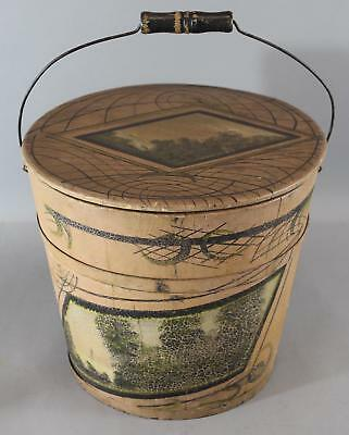 Circa-1900 Antique American Folk Art Painted Landscapes Covered Wood Bucket, NR