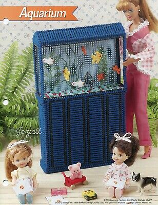Aquarium & Fish ~ fits Barbie dolls, Annie's plastic canvas pattern leaflet NEW
