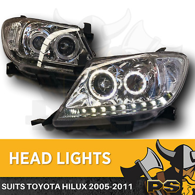 Angel Eye Projector Head Lights to suit Toyota Hilux 2005-2011 Clear