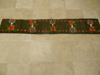 Vintage Swedish Christmas Candles And Apples Table Runner - Made In Sweden - Old
