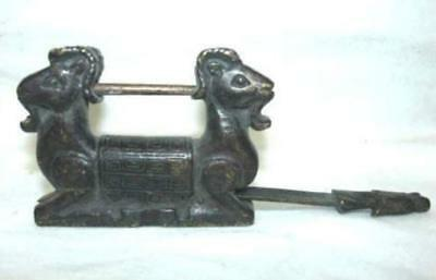 Rare Chinese old style Brass Carved Double sheep padlock lock and key