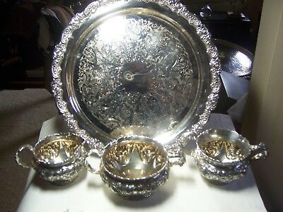 Derby silverplate 3 pc creamer, sugar & waste bowl repousse floral #1151 w/ tray