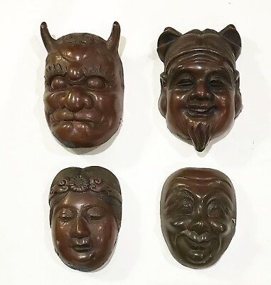 Four Antique Japanese Copper on Metal Masks -Daikoku/Okame/Oni/Old Man-Estate