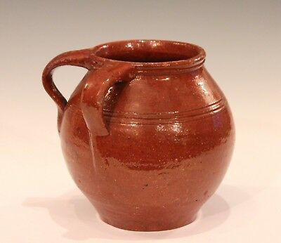 Antique Early 19th Cen American Redware Pottery Double Handled Jug Mug Pitcher
